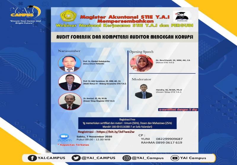 """Webinar Nasional dengan Tema """"Audit Forensik dan Kompetensi Auditor Mencegah Korupsi"""""""