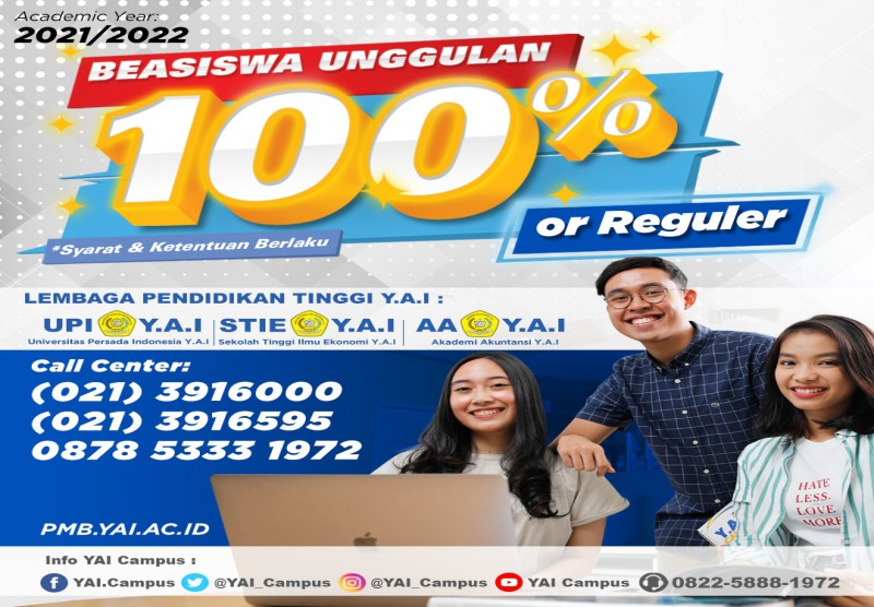 Program Beasiswa Reguler dan Beasiswa Unggulan Bebas Uang Pangkal 100%